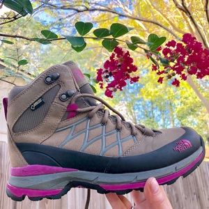 The North Face Gore-tex Tan and Pink Hiking Boots